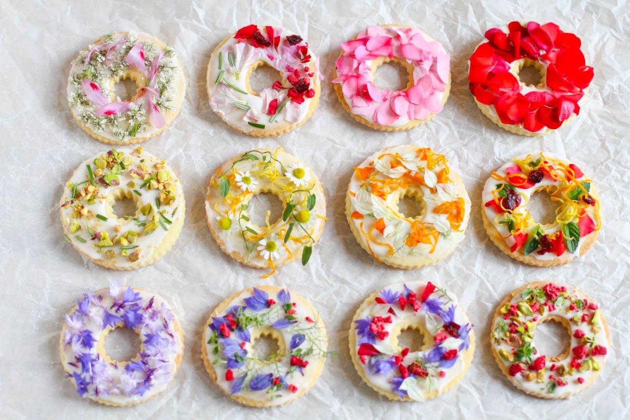 Shortbread Kekse mit Wildblumen