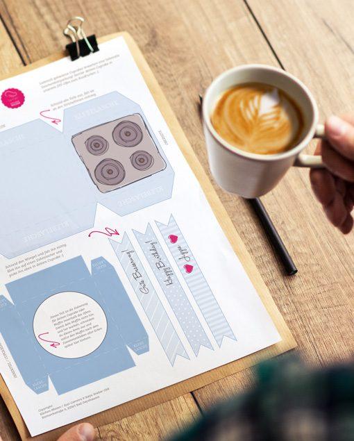 Verpackungsdesigns für Cupcakes und Muffins zum Downloaden und Ausdrucken
