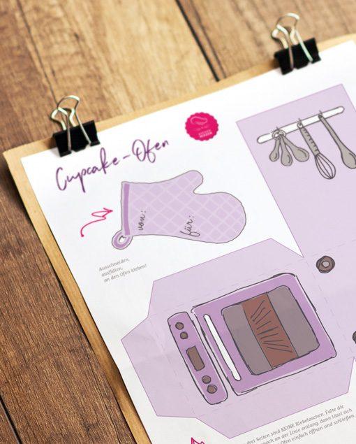 Küchen-Miezen · Back- & Foodblog · Bastelvorlage Cupcake-Ofen lila