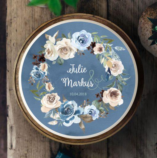 Küchen-Miezen · Essbares Tortenbild & Tortenaufleger selbst gestalten · Konfigurator · Design-Vorlage · 008 Aquarell Boho Blumen blau