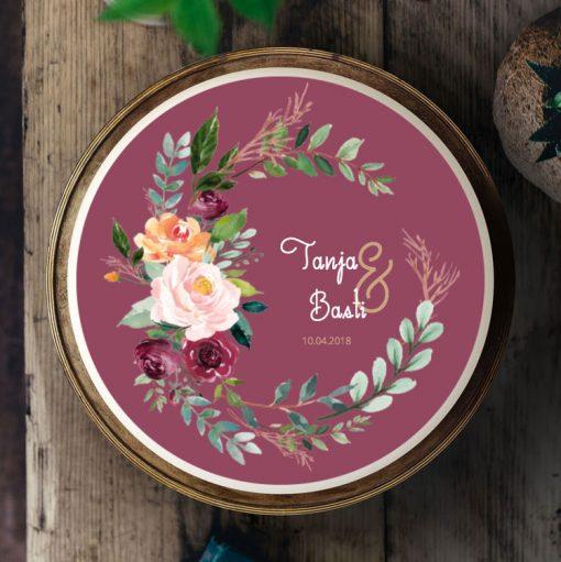 Küchen-Miezen · Essbares Tortenbild & Tortenaufleger selbst gestalten · Konfigurator · Design-Vorlage · 009 Aquarell Boho Blumen bordeaux rot