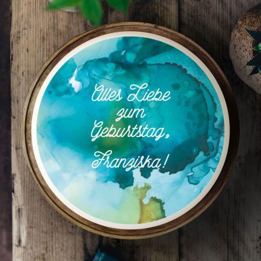 Küchen-Miezen · Essbares Tortenbild & Tortenaufleger selbst gestalten · Konfigurator · 014 Aquarell Petrol-grün