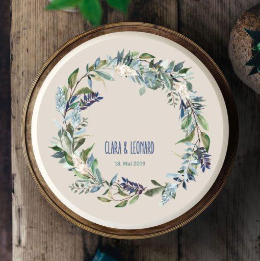 024 Boho Aquarell Blumenkranz beige · Küchen-Miezen · Essbares Tortenbild & Tortenaufleger selbst gestalten · Konfigurator